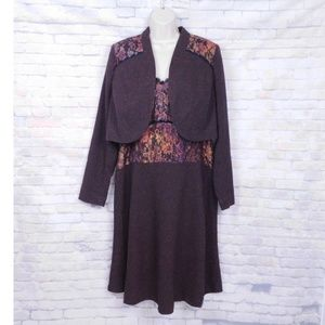 Isabel Toledo Brown Tweed Dress Bolero Shrug 14